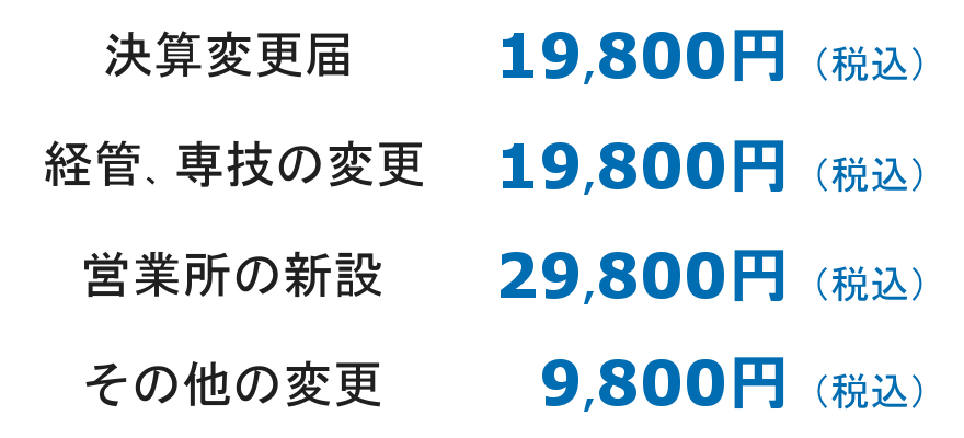 決算19,800円、経管・専技19,800円、営業所29,800円、その他9,800円
